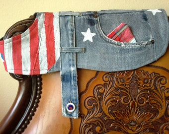 One-of-a-Kind, Stars & Stripes Dog Coat of Recycled Denim--Small