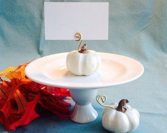 White Pumpkin Place Card Holders, Fall Wedding Decoration, Thanksgiving Table Setting, Harvest, Party Favor, Halloween