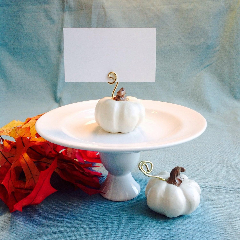 Fall Wedding Card Box Ideas: White Pumpkin Place Card Holders Fall Wedding Decoration