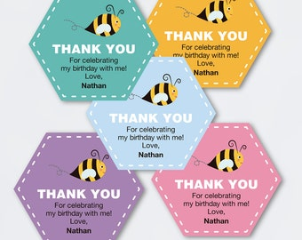 bee birthday favor tags / printable pdf / Baby Shower thank you cards labels theme boy idea wrappring gift bag honey candy goodies girl blue