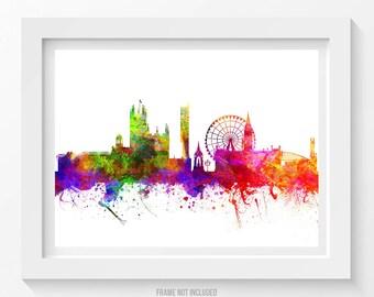 Manchester England Poster, Manchester Skyline,Manchester Cityscape,Manchester Print,Manchester Art,Manchester Decor,Home Decor, Gift Idea 02