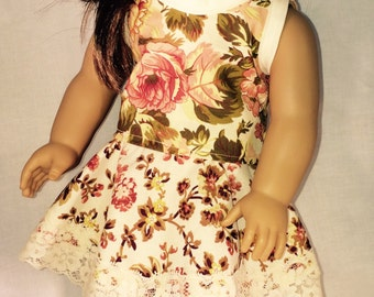 American Girl Doll skater skirt,flowers, crop top,AG outfit,  handmade, 18 inch doll