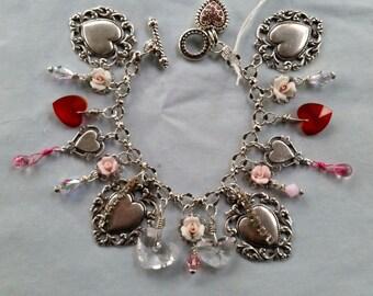 Silver Victorian Heart Charm Bracelet, Floral Charm Bracelet, Pink Rose Charm Bracelet, Swarovski Crystal Charm Bracelet, Handmade, OOAK