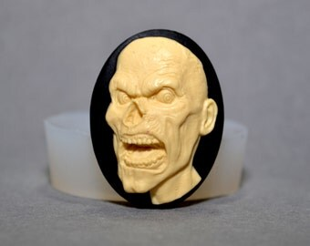 ZOMBIE SILICONE MOLD cameo  sugarcraft resin fimo polymer clay mould soap fimo skull plaster icing chocolate food grade walking death goth