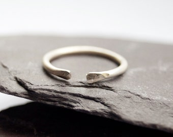 Hammered Open Midi - Ring ~ sterling silver, midi, modern, statement, knuckle