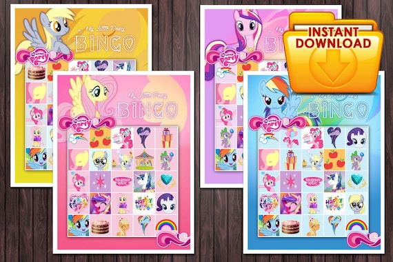 My little pony printable Bingo Game Birthday Party Custom