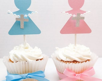 Little Angel Cupcake Toppers, Baptism cupcakes