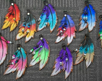 Hand Painted Leather Feathers