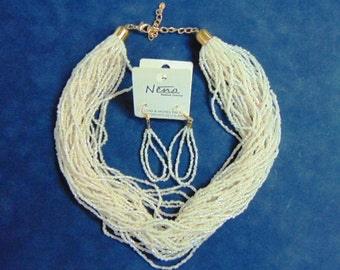 Lovely Fashion Multi-Strand White Bead Necklace & Matching Earrings E1910