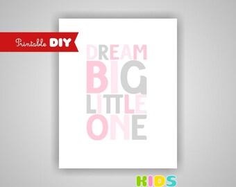 Printable DIY Nursery Art Print, Light pink and grey art