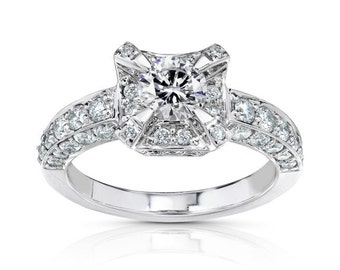 Halo Diamond Engagement Ring 1 2/5 Carats (ctw) in 14k White Gold