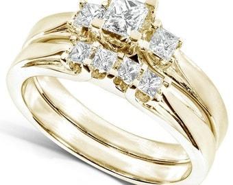 Diamond Wedding Set 1/2 carat (ctw) in 14K Yellow Gold