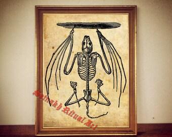Bat skeleton print, vampire poster, hanging bat art, gothic, dark decor, victorian illustration, occult home decor, witchcraft, witch #19