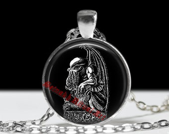 """Cthulhu pendant, H.P. Lovecraft, Necronomicon jewelry, magic amulet, """"The Call of Cthulhu"""" #57"""