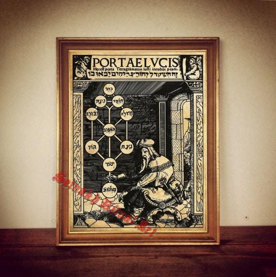 Tree Of Life Print Sephiroth Poster Occult Kaballah Illustration Magick Kabbalah Decor
