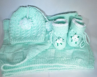 Baby shower Gift Idea, Hand Knit Baby Set, Baby Blanket Knit, Baby Knit Hat, Baby Knit Booties
