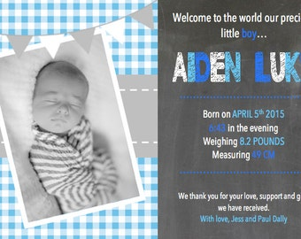 Baby boy birth announcement / thank you card