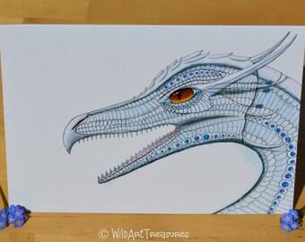 Dragon Card, Fantasy Art, Happy Birthday, Greetings Card, Mythical Creature, Notecard