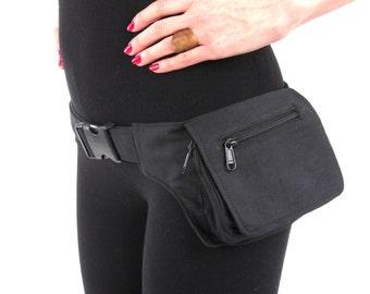VEGAN Pocket Belt - Single  Hip Canvas Waist Pouch Utility Bag in Black. Great for Party, Festival, Burning Man, psy trance, rave