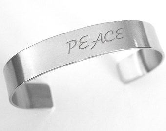 Peace stainless steel cuff bangle bracelet, personalized silver bangle, wear your mantra