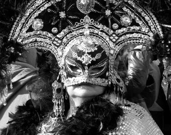 Venetian Mask Photography / Venice Italy Photography / Carnival Art / Venice Print / Masquerade Decoration 8 x 10 Black and White Photograph
