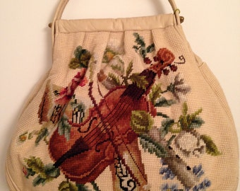Vintage Musical Design Needlepoint Leather Trimmed Purse