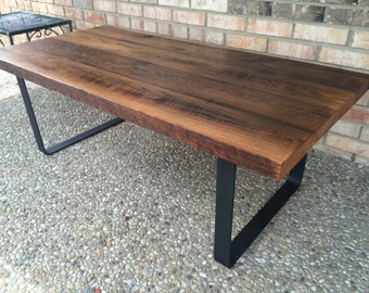 Coffee Table Rustic Reclaimed Handcrafted Coffee Table. Solid Oak Barn Wood. Industrial. Solid Iron Legs
