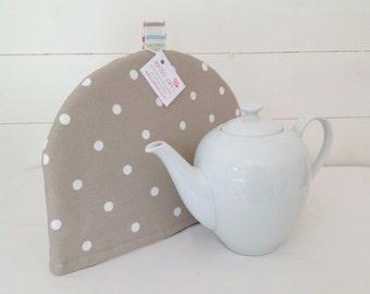 Taupe Dotty Tea Cosy, Taupe Tea Cosy, Dotty Tea Cosy