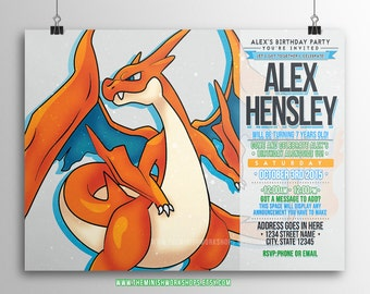 Pokemon Birthday Invitation, Charizard Birthday Invitation, Printable Invitation, Instant Download, Charizard Mega Pokemon X Y, Custom Made.