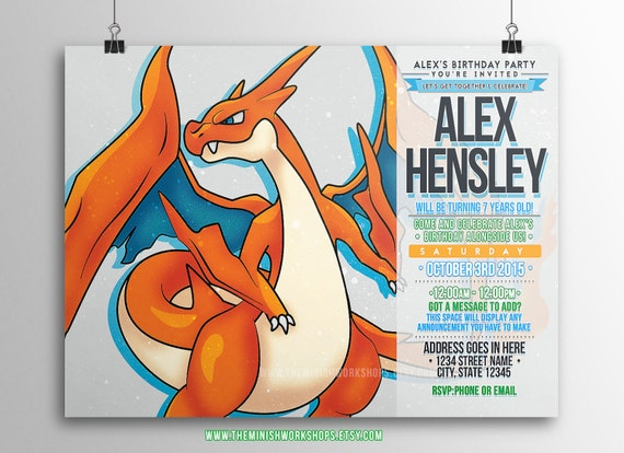 Pokemon Charizard Mega Y Printable Custom Made Downloadable Birthday Card Invitation Express Order
