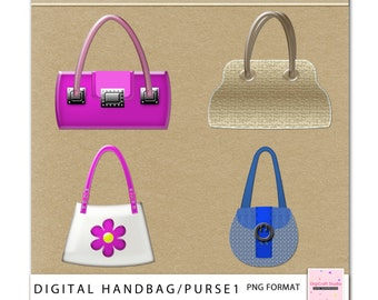 Digital Handbag Clipart. Purses, sling bag. Perfect for scrapbooking, cards, invitations, tags, party goods. Instant Download