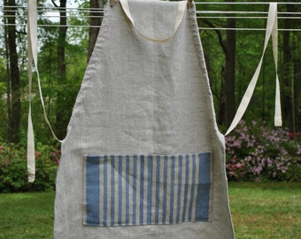 Blue & White Linen Apron