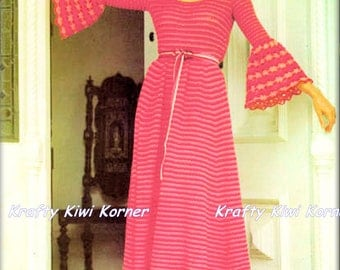Crochet Vintage 1970s Boho Maxi Dress with Ruffled Sleeves and Hem- Made to Order