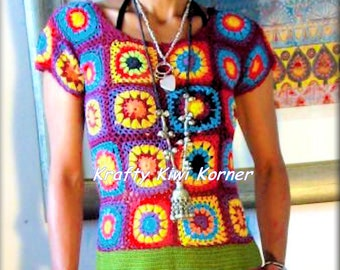 Crochet Vintage-Style 1960's-1970's Granny Square Top - Made to Order