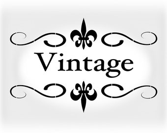 Shabby Chic Stencil Vintage  - Stencil in Reusable Mylar For Signs, Furniture and  Fabric  - Size A5 5.8 x 8.3 in  and  A4 8.3 x 11.7 in