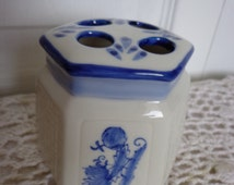Blue White Toothbrush Holder, Blue White Bathroom Decor, Genuine Porcelain, Blue White Home,