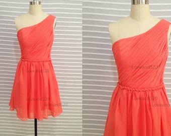 2017 Coral prom dress, coral wedding dress, short bridesmaid dress,chiffon evening dress,short chiffon dresses New Arrive