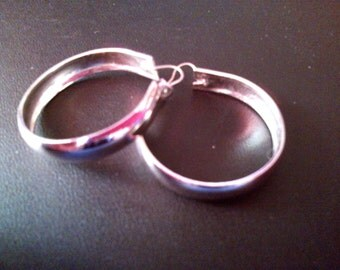 1970's Silver Hoop Earrings