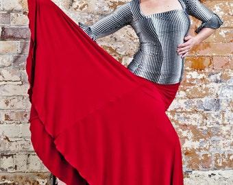Red FISHTAIL Flamenco skirt
