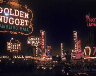 Las Vegas Downtown Neon Lights 1955 taken from 35mm Kodachrome slide