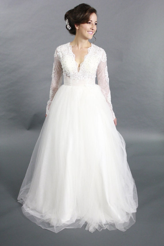 Long sleeves lace applique ballgown v neck wedding by for How to clean your own wedding dress
