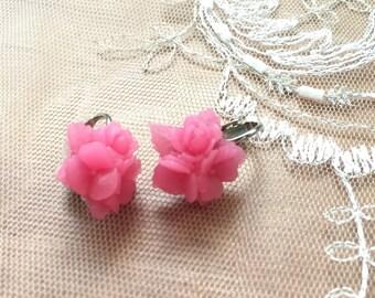 Pink Posies Clip on Earrings