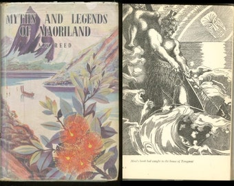 1958 MYTHS AND LEGENDS Of Maoriland New ZealandHardcover Dust Jacket By Alexander Wyclif