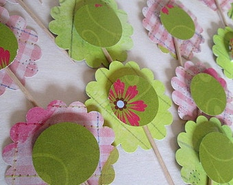 24 Pc Pink and Green Floral Cupcake Picks