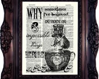 Alice in wonderland Decoration Alice in Wonderland Art Print Alice in Wonderland Party Tea Time Alice in Wonderland print on book page C:635