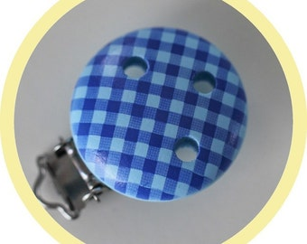 Clip blue gingham wooden