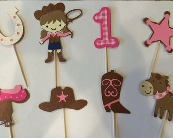 24 Mini Cowgirl Cupcake Toppers