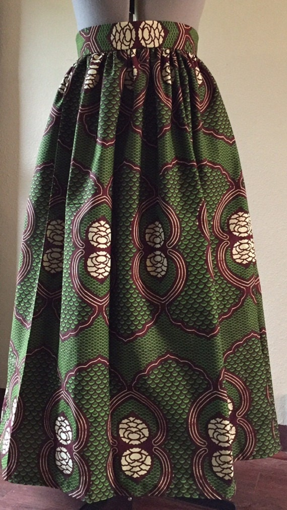 African Print High Waist Maxi Skirts Beautiful African Wax ...