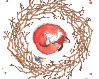 Winter Fox Watercolour and Ink Aimal Painting-Folk Drawing