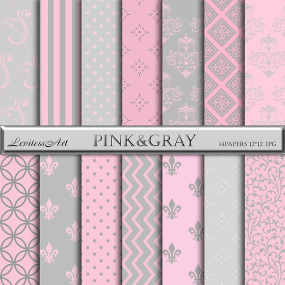 Pink And Gray Digital Paper Damask Romantic Backgrounds Patterns